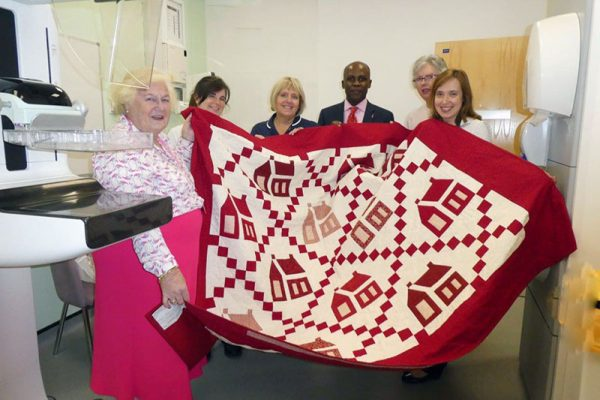 Patchwork quilt for the Breast Cancer Awareness Month fundraising appeal